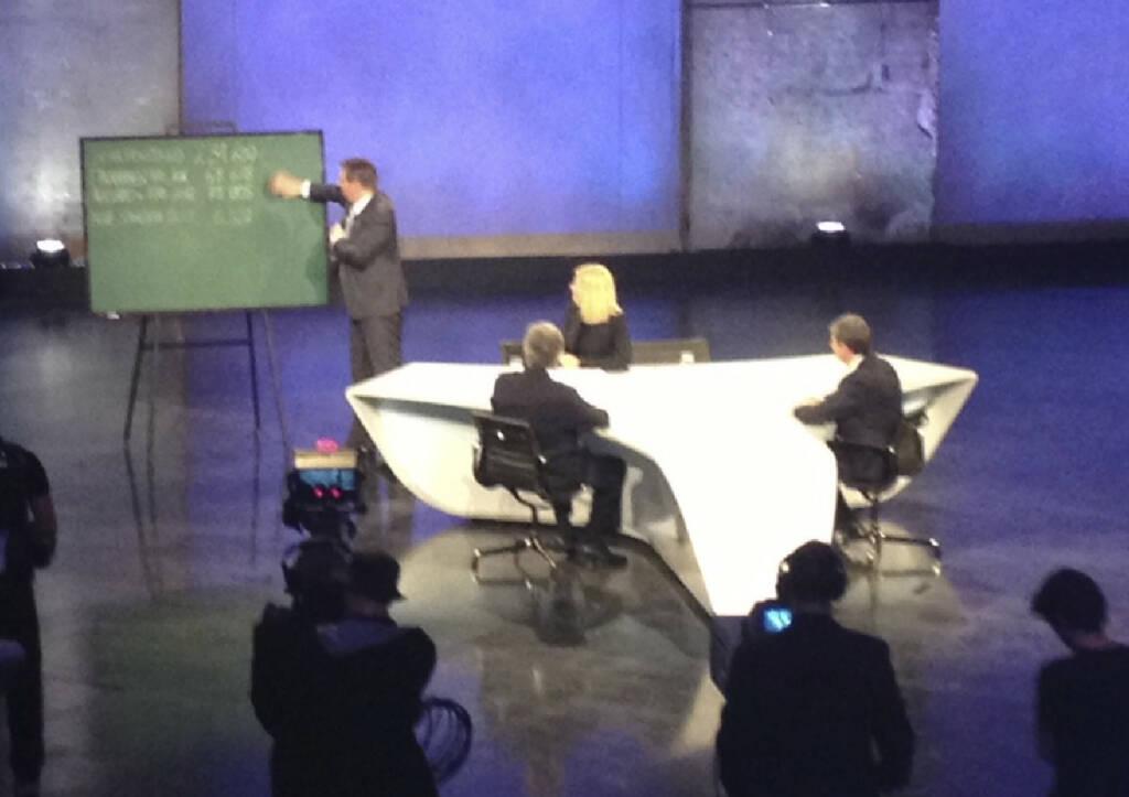 #meinewahl Meinrad Knapp rechnet Werner Faymann und Michael Spindelegger vor, wie ein Budget funktioniert. Kollegin Sylvia Saringer: Warum ist die FTT im Budget, wenn die Deutschen sie nicht drin haben? (22.09.2013)