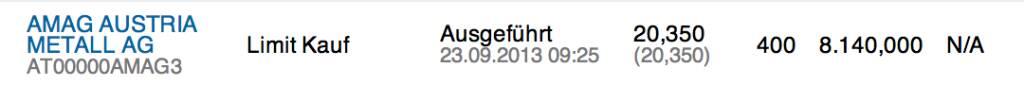 27. Trade für https://www.wikifolio.com/de/DRASTIL1: Wiedereinstieg 400 Amag zu 20,35 - ich bin vor der ATX-Herausnahme bei 21,28 ausgestiegen. Fundamental hat sich ja nichts geändert, © wikifolio WFDRASTIL1 (23.09.2013)