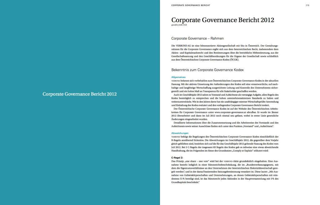 Corporate Governance Bericht 2012, © Verbund (22.10.2013)