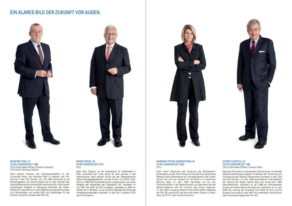 Vorstand RHI: Manfred Hödl, Franz Struzl, Barbara Potisk-Eibensteiner, Giorgio Cappelli - Ein klares Bild der Zukunft vor Augen, © RHI (24.10.2013)