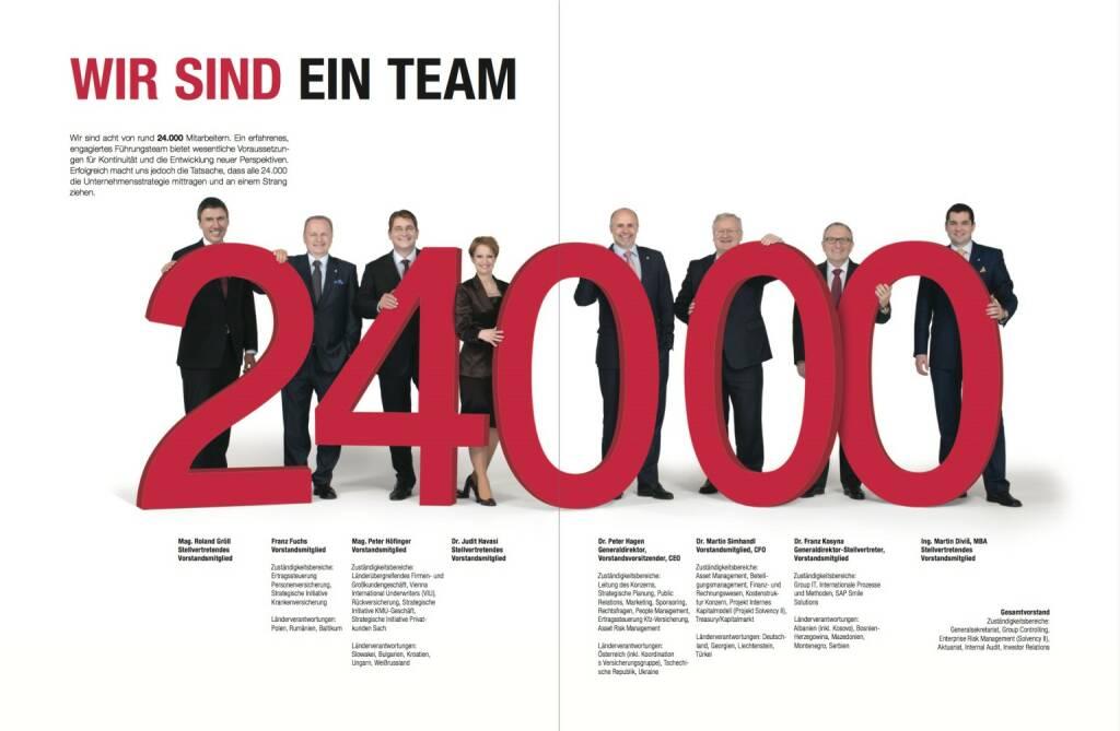 Wir sind ein Team - Roland Gröll (Stellvertretendes Vorstandsmitglied), Franz Fuchs (Vorstandsmitglied), Peter Höfinger (Vorstandsmitglied), Judit Havasi (Stellvertretendes Vorstandsmitglied), Peter Hagen (Generaldirektor, Vorstandsvorsitzender, CEO), Martin Simhandl (Vorstandsmitglied, CFO),   Franz Kosyna (Generaldirektor-Stellvertreter, Vorstandsmitglied), Martin Diviš (Stellvertretendes Vorstandsmitglied), © VIG (28.10.2013)