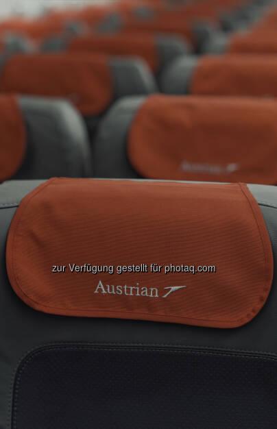 Alle Flugzeuge der Austrian Kurzstreckenflotte mit neuer Innenausstattung und neuem Design, 3.119 Sitze mit neuen Lederbezügen in vornehmem Grau mit roten Akzenten ausgestattet (Bild: Austrian Airlines Group) (11.11.2013)
