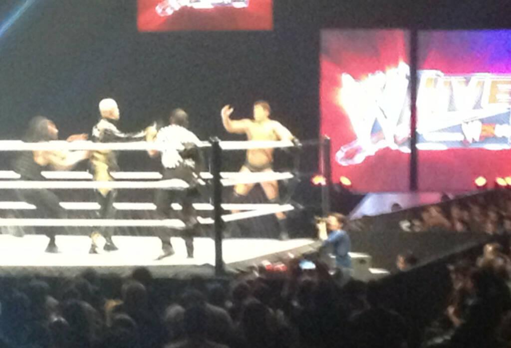 Seth Rollins, Goldust, Cody Rhodes, die Fotografin musste ein paar mal ausweichen (17.11.2013)