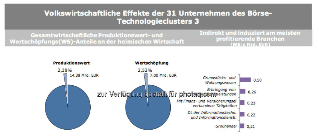 Volkswirtschaftliche Effekte der 31 Unternehmen des Börse-Technologieclusters 3, © IWI (17.11.2013)