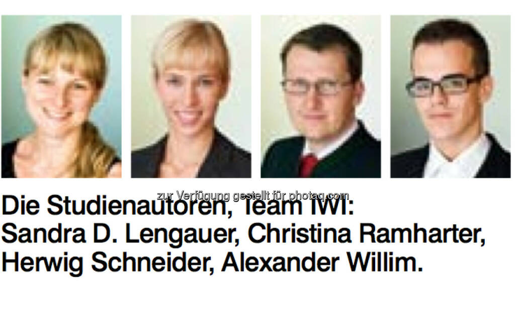 IWI-Studienautoren: Sandra D. Lengauer, Christina Ramharter, Herwig Schneider, Alexander Williim, © IWI (17.11.2013)
