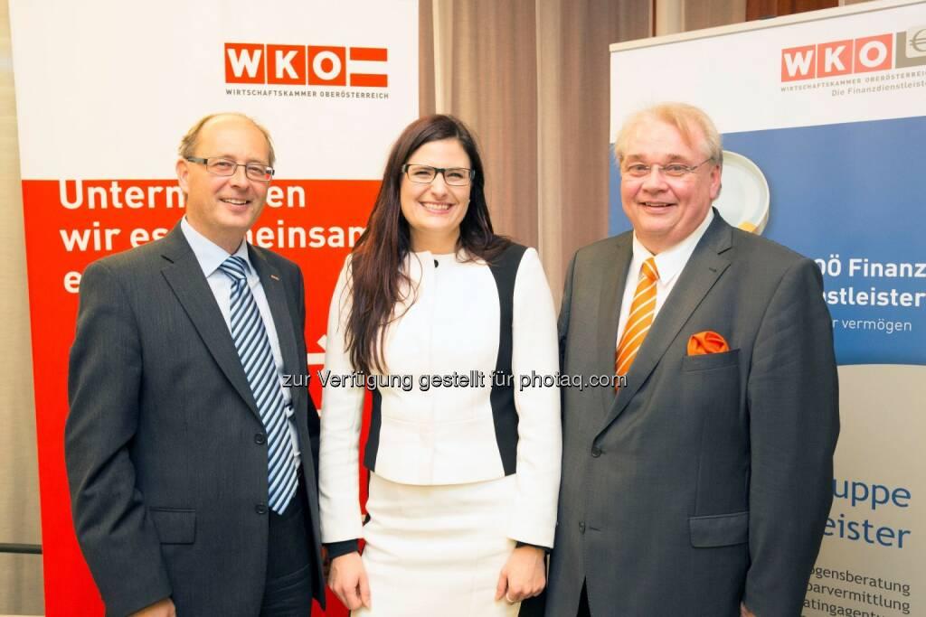 Thomas Wolfmayr (Geschäftsführer Fachgruppe der OÖ Finanzdienstleister), Bernadette Kamleitner (Wirtschaftsuniversität Wien) und Herbert Samhaber (Fachgruppen-Obmann) auf der Jahrestagung der OÖ Finanzdienstleister (Bild: WKOÖ Finanzdienstleister) (18.11.2013)