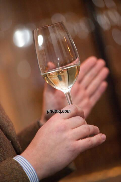 1. Brunel Achterl, Weißwein, Weinglas, Hand