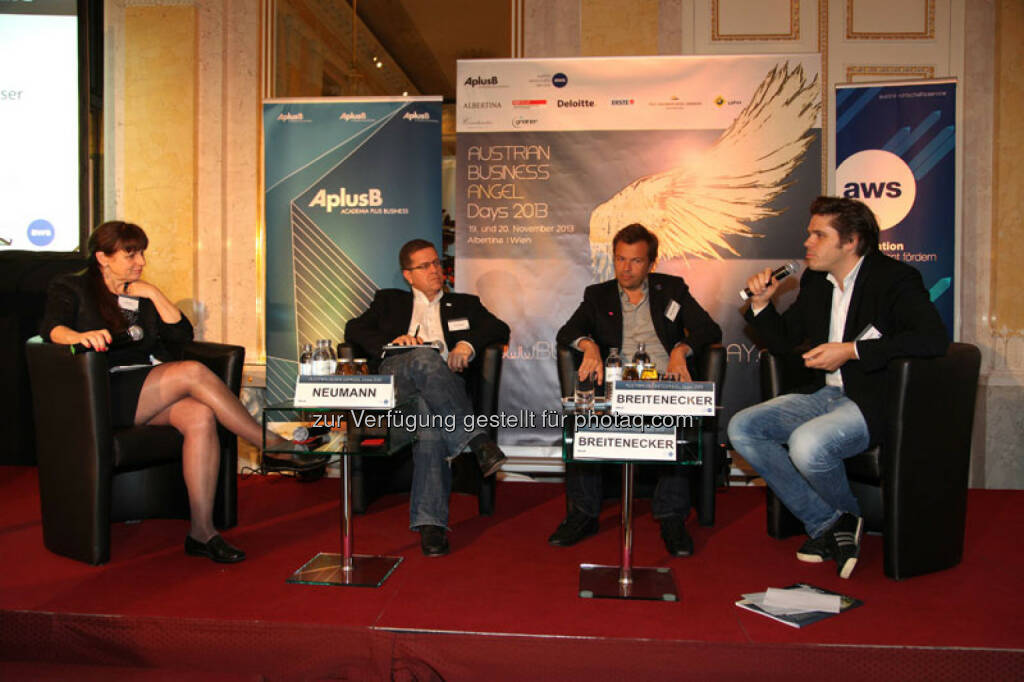 Peter Neumann (Head of Styria Digital Holding), Markus Breitenecker (Geschäftsführer, ProSieben Sat1 Puls4), Julian Breitenecker (CEO Media4Equity Invest), , © Austria Wirtschaftsservice (01.12.2013)