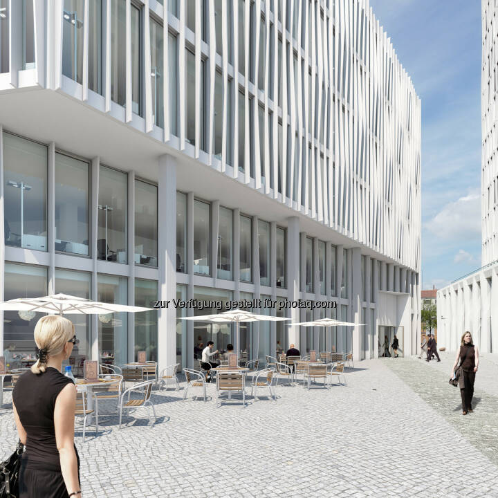 Neues MLP-Beratungszentrum zieht in das von CA Immo geplante Gebäude Monnet 4 - Europacity: Bürogebäude Monnet 4 (Visualisierung). Eingangssituation mit Platz (Bild: CA Immo)