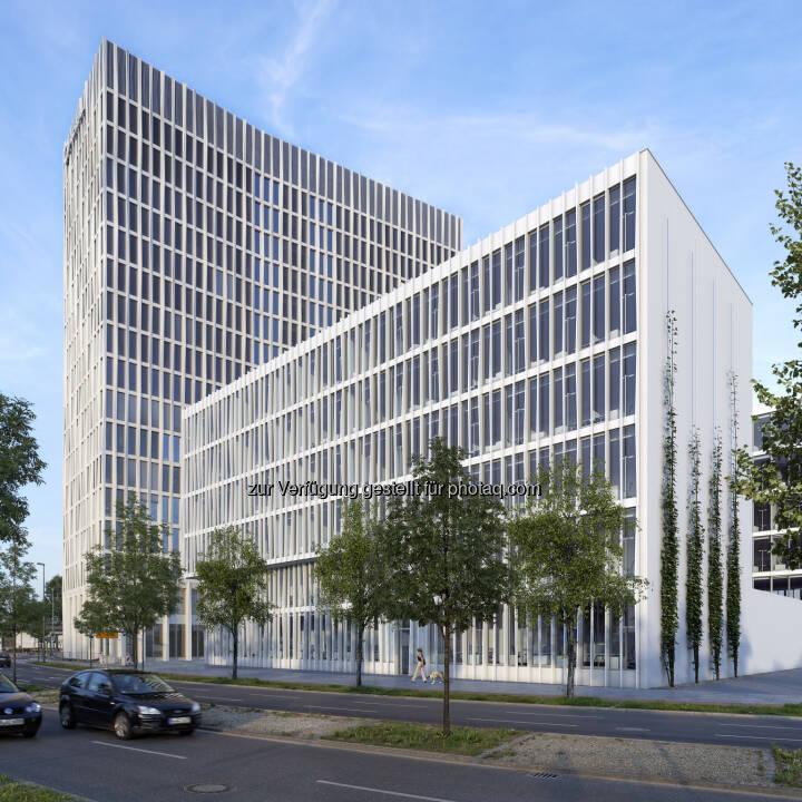 Neues MLP-Beratungszentrum zieht in das von CA Immo geplante Gebäude Monnet 4 - Europacity: Bürogebäude Monnet 4 (Visualisierung); im Hintergrund Tour Total (Bild: CA Immo)