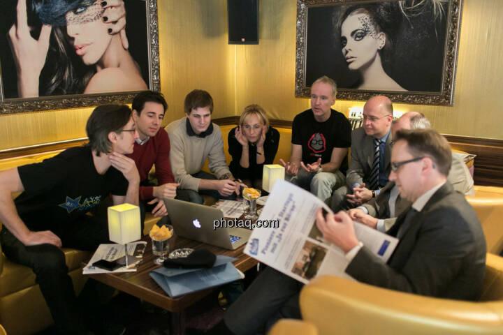 Josef Chladek, Igor Huic (Donau Invest), Chris Mattura (Investment Banking / Venture Capital), Isabella de Krassny (Donau Invest), Christian Drastil, Erwin Hof (Wiener Börse), Roland Meier (iQ-Foxx), Stefan Maxian (RCB)