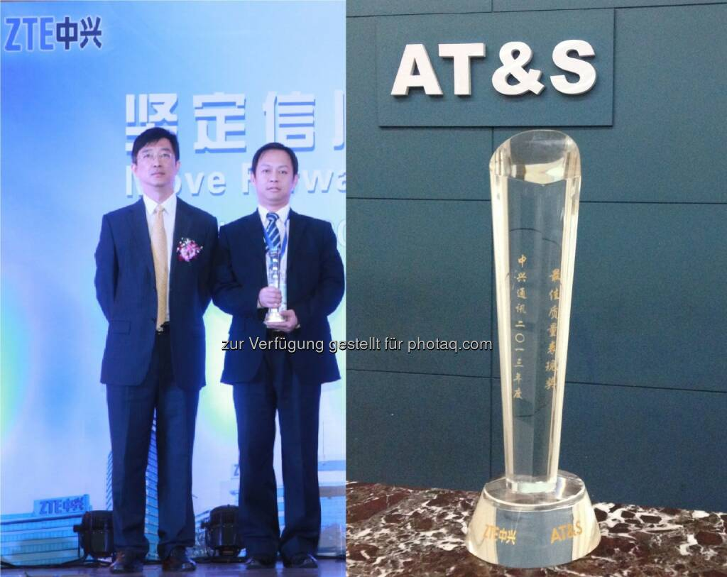 ZTE Best Quality Award 2013 geht an AT&S - ZTE Vice President Cao Lei, AT&S Sales Manager China Alex Zhang Copyright: AT&S (20.12.2013)