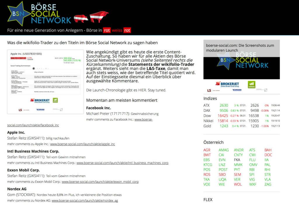 http://www.boerse-social.com am 7.1.2014:  Wie angekündigt gibt es heute die erste Content-Zuschaltung. So haben wir für alle Aktien des Börse Social Network-Universums (siehe Seitenteil rechts die Kürzelsammlung) die Statements der wikifolio-Trader ergänzt. Weiters sieht man die L&S-Taxe, damit man auch stets weiss, wie der betreffende Titel quotiert wird. Auf der Einstiegsseite diesmal ein Überblick über ausgewählte Kommentare. (07.01.2014)