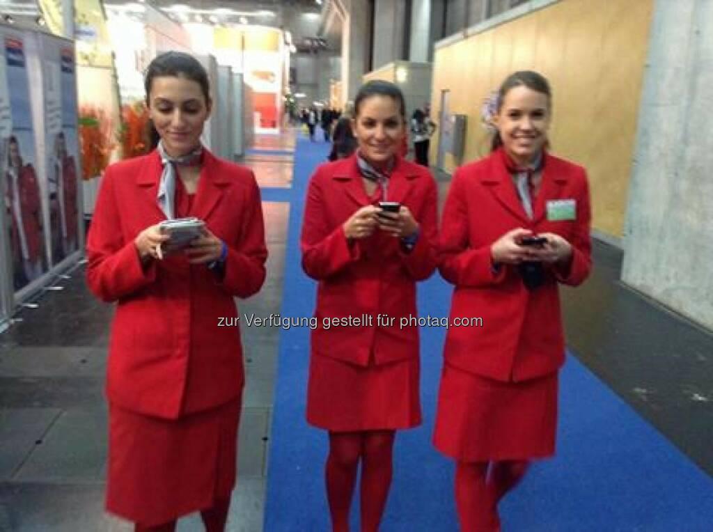 Ferien-Messe Wien - Austrian Airlines zum Thema Smart Phone, WLAN, Mobility, Flexibility... Das Bild bedarf eigentlich keiner Worte mehr (c) Lufthansa (18.01.2014)