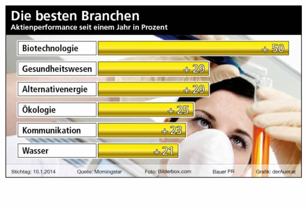 Die besten Branchen 12 Monate: Biotechnologie, Gesundsheitswesen, Alternativenergie, Ökölogie, Kommunikation, Wasser (c) Bauer PR, derAuer.at  (19.01.2014)