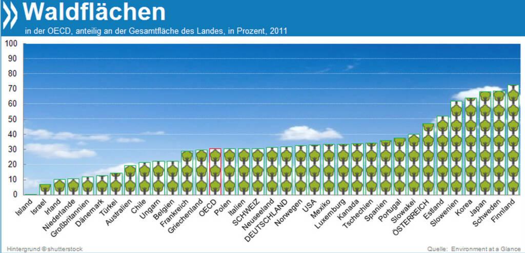 So Wald das Auge blickt: Ein Viertel aller Wälder der Erde stehen in OECD-Ländern. Finnland, Schweden und Japan sind im Verhältnis zur Fläche am waldreichsten. Auf mehr als zwei Dritteln ihres Gebietes wachsen Bäume.  Mehr unter http://bit.ly/1jpCtE2 (Environment at a Glance 2013, S. 45), © OECD (24.01.2014)