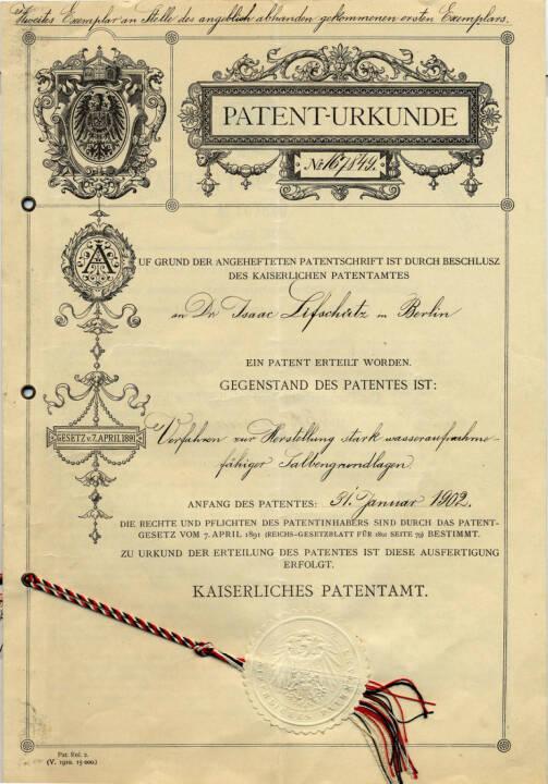 Patent Urkunde, Eucerin