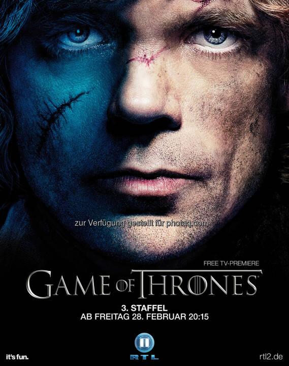 Peter Dinklage als Tyrion Lennister, Plakatmotiv zum Start der dritten Staffel von Game Of Thrones am Freitag, den 28. Februar 2014 um 20:15 Uhr bei RTL II, (C) HBO Enterpreises/RTL II
