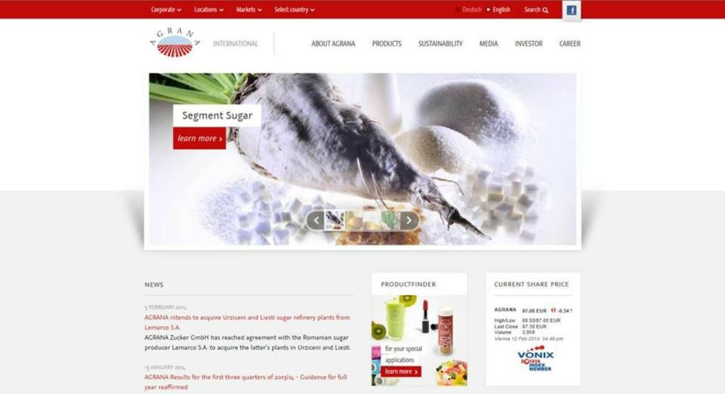 Seit 12. Februar erscheint die Corporate Agrana-Website im neuen Design: http://www.agrana.com  (12.02.2014)