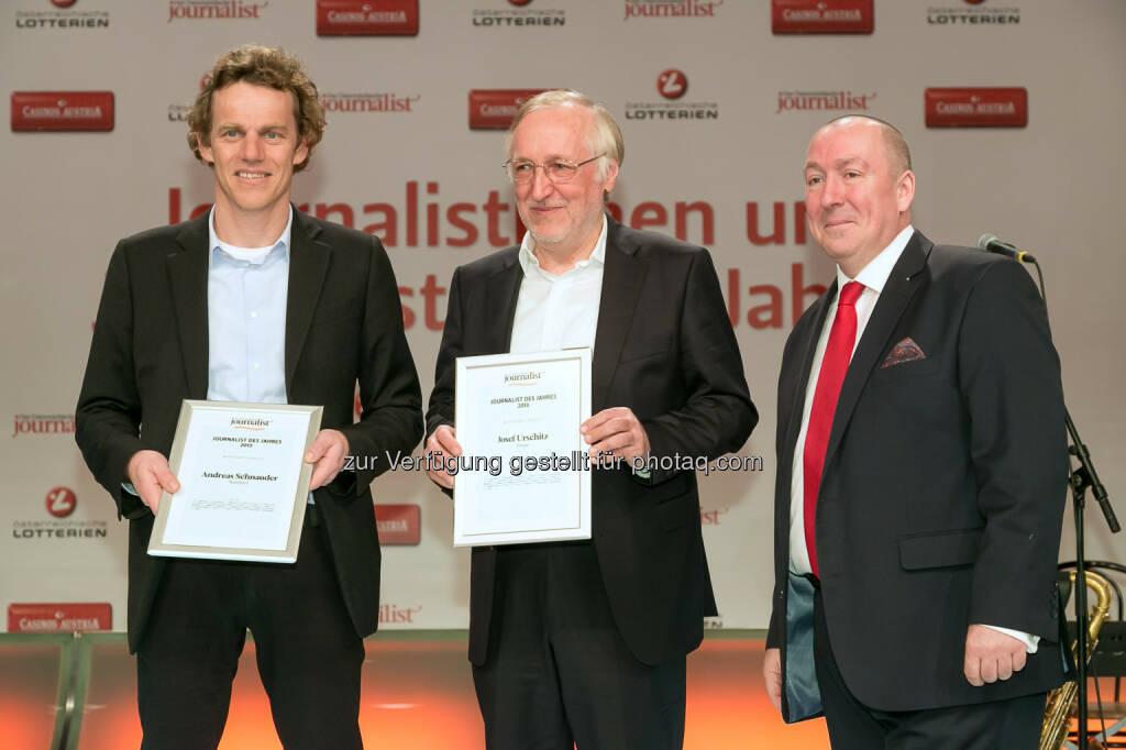 """Andreas Schnauder (Standard), Josef Urschitz (Presse), Georg Taitl (""""Der Österreichische Journalist""""), © Der österreichische Journalist/APA-Fotoservice/Schedl (13.02.2014)"""