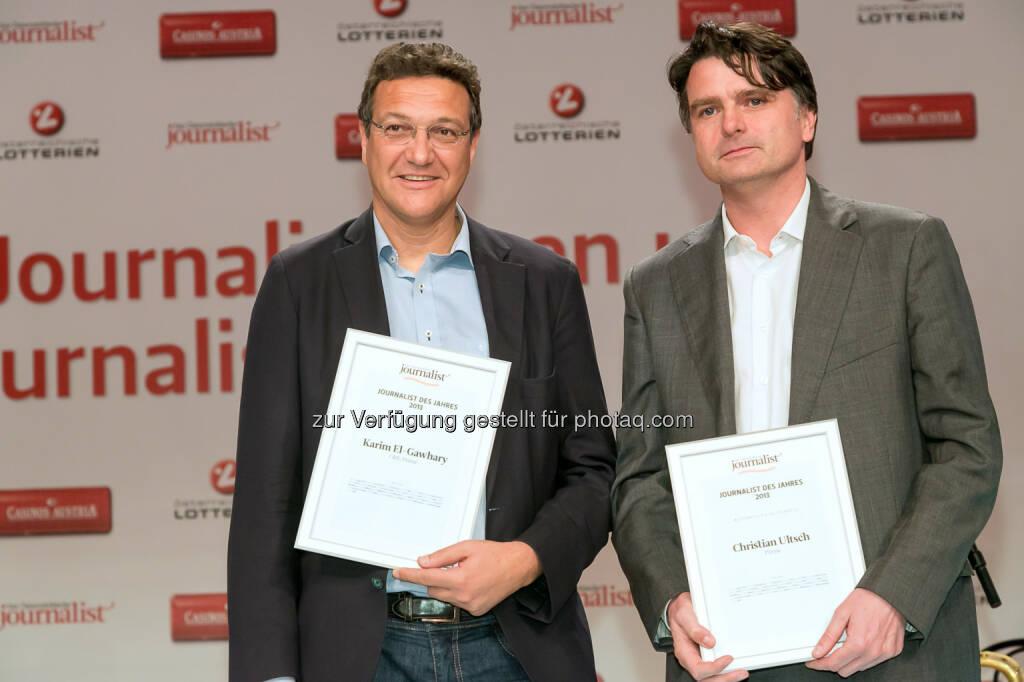 Karim El-Gawhary (ORF, Presse), Christian Ultsch (Presse), © Der österreichische Journalist/APA-Fotoservice/Schedl (13.02.2014)