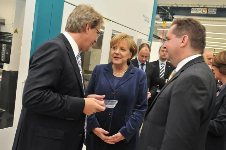 Besuch der Bundeskanzlerin Angela Merkel und Ministerpräsident Stefan Mappus, Manz AG