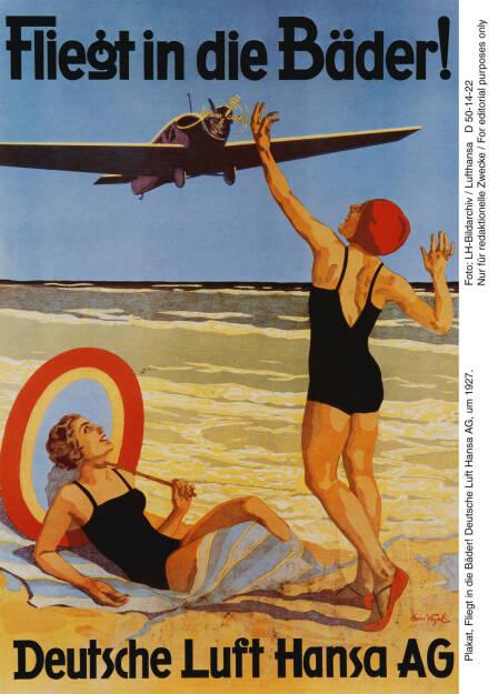 Plakat, Fliegt in die Baeder! Deutsche Lufthansa AG, um 1927. Foto: LH-Bildarchiv Lufthansa  , © Lufthansa AG (Homepage) (17.02.2014)