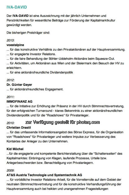IVA-David-Siegertafel: 2013 voestalpine; 2012 Günter Geyer; 2011 Immofinanz; 2010 Christian Drastil, Kid Möchel; 2010 AT&S , © IVA (25.02.2014)