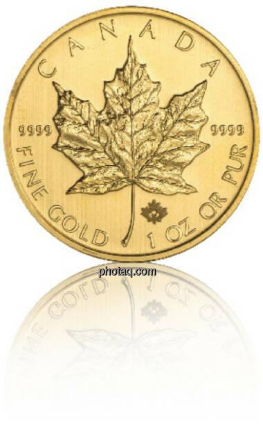 Maple Leaf 1/1 Hersteller: Royal Canadian Mint Herkunftsland: Kanada Durchmesser: 30,00 mm Dicke: 2,87 mm Feingewicht: 31,103 Bruttogewicht: 31,103 Feinheit: 999,9 Erstprägung: 1979, © philoro für ein Fachheft (26.02.2014)