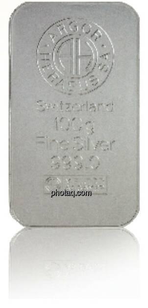 Silberbarren - Hersteller: Argor Heraeus Herkunftsland: Schweiz Feingewicht: 100g Feinheit: 999, © philoro für ein Fachheft (26.02.2014)