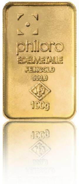 Goldbarren Hersteller: philoro Edelmetalle Herkunftsland: Deutschland Feingewicht: 100g Feinheit: 999,9 Zertifikat: mit Sicherheitslabel, © philoro für ein Fachheft (26.02.2014)