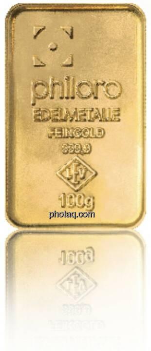 Goldbarren Hersteller: philoro Edelmetalle Herkunftsland: Deutschland Feingewicht: 100g Feinheit: 999,9 Zertifikat: mit Sicherheitslabel