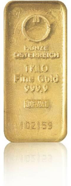 Goldbarren - Hersteller: Münze Österreich Herkunftsland: Österreich Feingewicht: 1.000g Feinheit: 999,9, © philoro für ein Fachheft (26.02.2014)