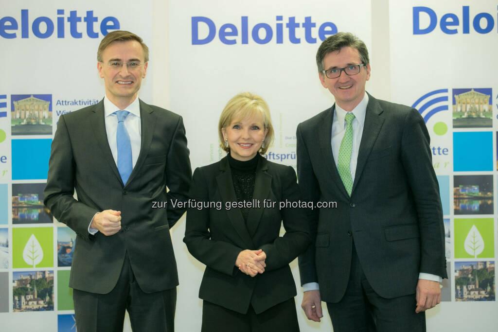 Josef Schuch, Gundi Wentner, Bernhard Gröhs (alle Deloitte): Deloitte Österreich hat erstmals den Deloitte.Radar 2013/2014 - Attraktivität des Wirtschaftsstandortes Österreicherstellt.  (06.03.2014)