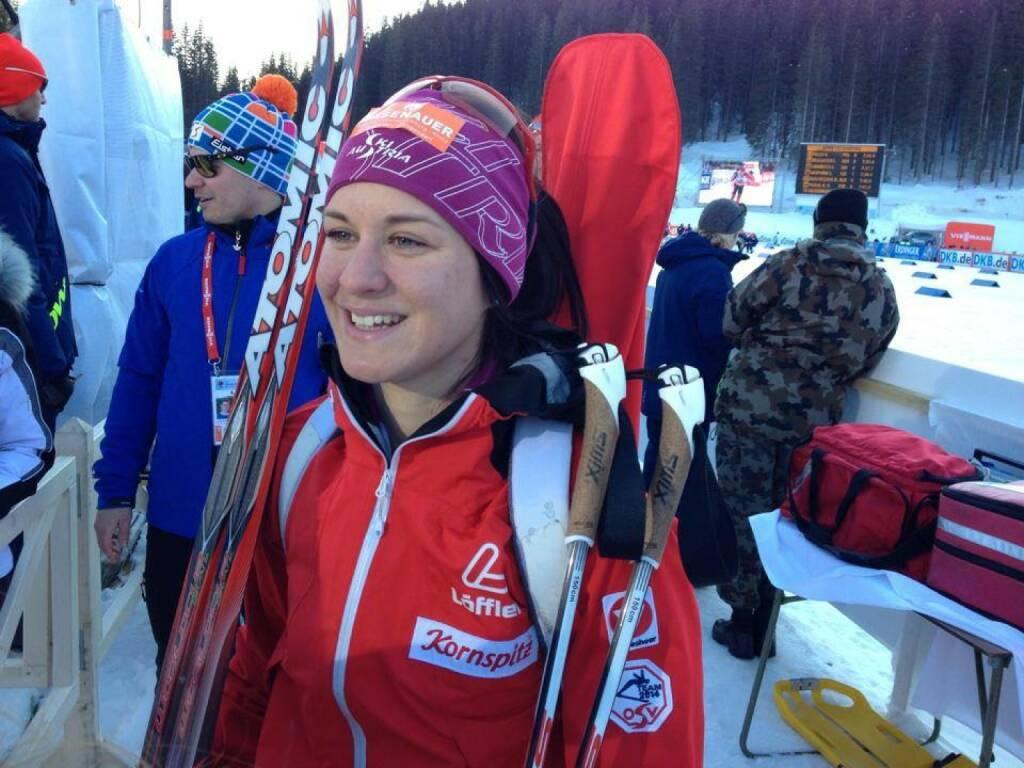 Katharina Innerhofer feierte den 1. Weltcupsieg einer Österreicherin überhaupt (6.3. Sprint Pokljuka) Bild: https://www.facebook.com/pages/ÖSV-Biathlon/175801315812050, © laola1.at (06.03.2014)