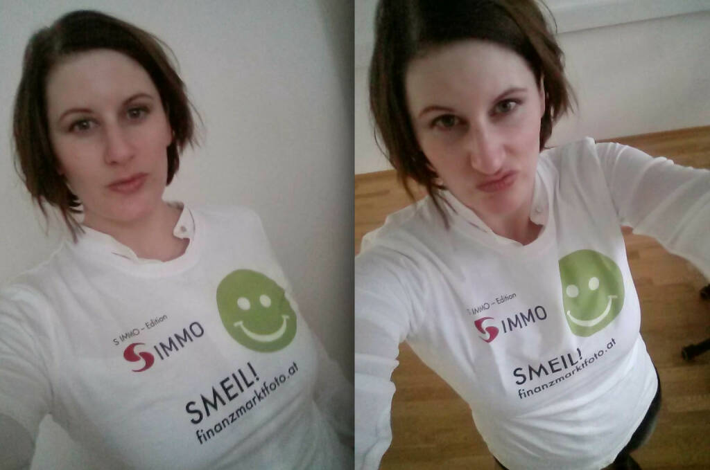Digital Affairs Selfie Smeil: Judith Denkmayr (Shirt in der S Immo-Edition) (20.03.2014)