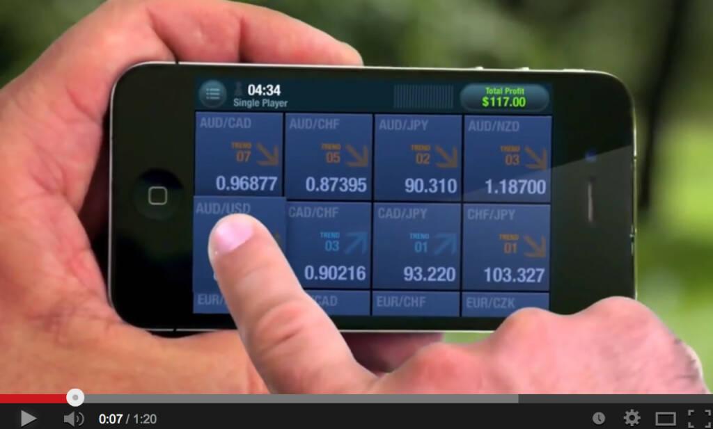 Flick a Trade Devisen Crossrates Handy Trading, &copy; Stills aus <a href=