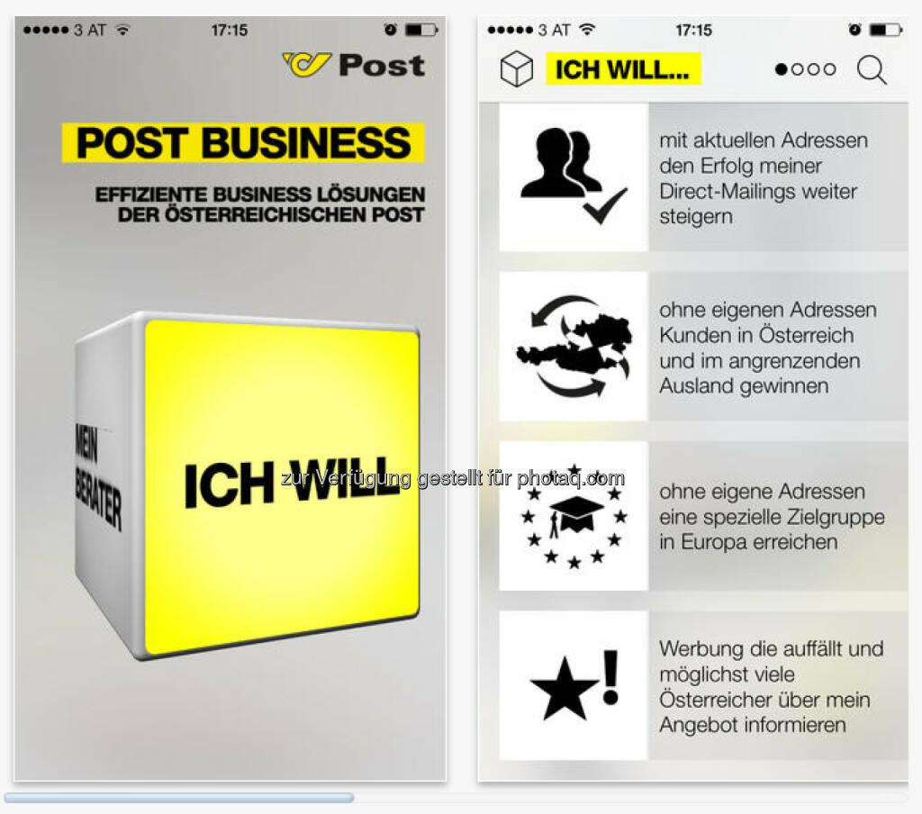 Die Post Business App bietet eine kompakte und leicht verständliche Übersicht über das Werbepost Produktportfolio und Mail Solutions. (25.03.2014)