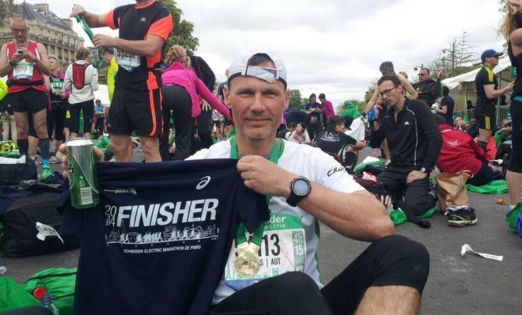 Andreas Schweighofer, Veranstalter http://www.wienerwaldlauf.at (Anmeldung offen, Runplugged unter den Partnern) als Finisher des Paris Marathon 2014 (07.04.2014)
