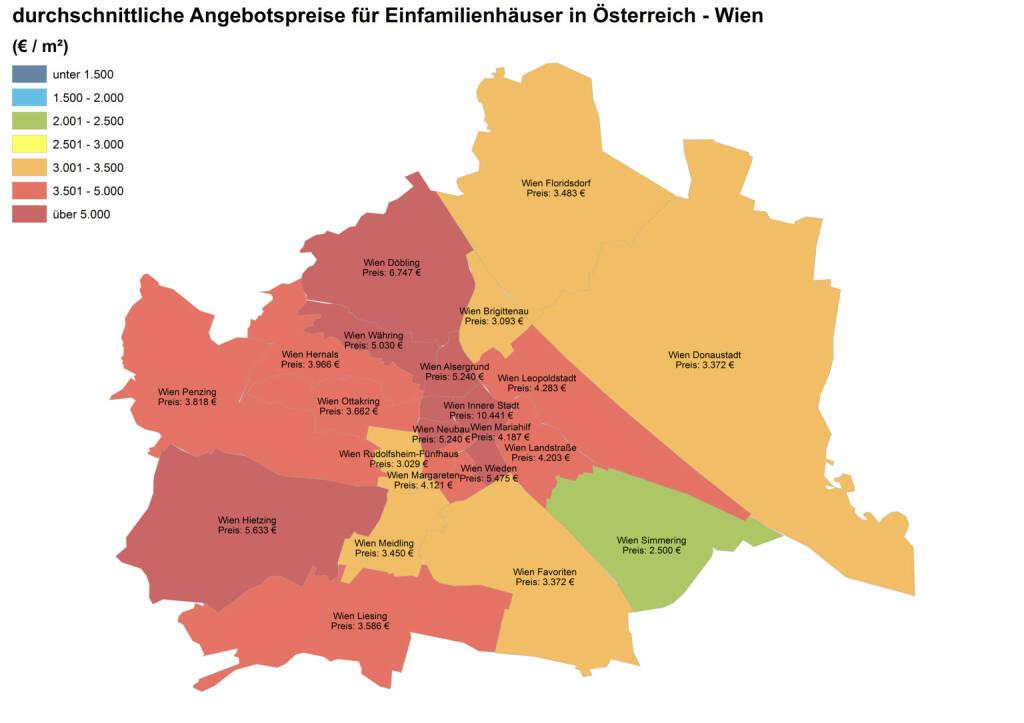 Durchschnittliche Angebotspreise für Einfamilienhäuser in Österreich - Wien (Euro/m2), Quelle: ImmobilienScout24 und Immobilienring IR (07.04.2014)