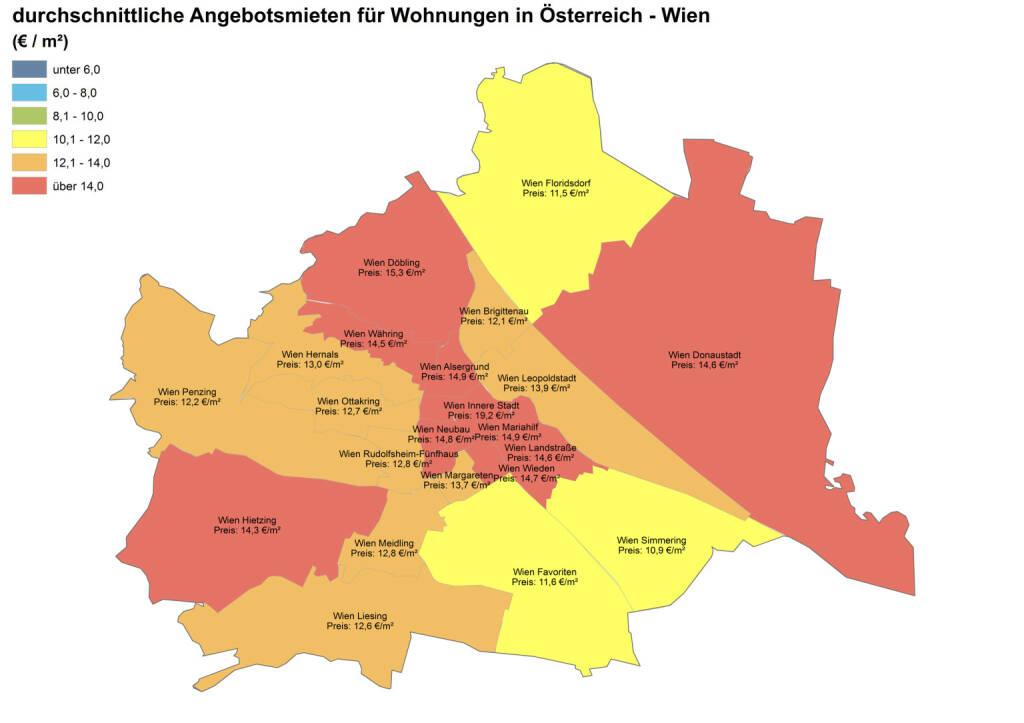 Durchschnittliche Angebotsmieten für Wohnungen in Österreich - Wien, Quelle: ImmobilienScout24 und Immobilienring IR (07.04.2014)