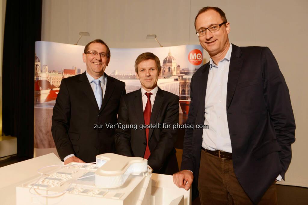 Christian Strasser, Direktor MuseumsQuartier Wien; Josef Ostermayer, Kunst- und Kulturminister; Andreas Mailath-Pokorny, Kulturstadtrat, © A2Studio (07.04.2014)