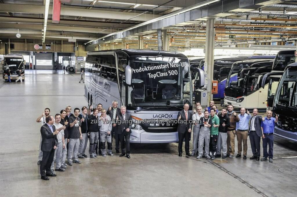 Daimler Buses staret im EvoBus Werk Neu-Ulm die neue Setra TopClass 500 (Bild: Daimler) (15.04.2014)