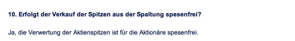 Frage an Immofinanz/Buwog: Erfolgt der Verkauf der Spitzen aus der Spaltung spesenfrei? (18.04.2014)