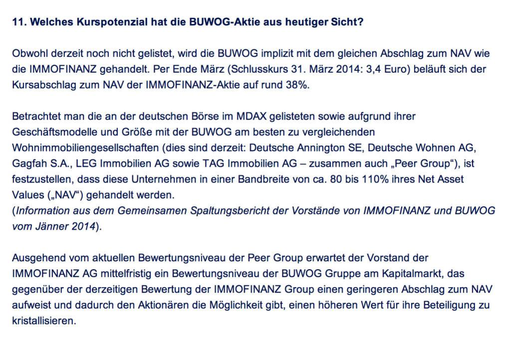 Frage an Immofinanz/Buwog: Welches Kurspotenzial hat die Buwog-Aktie aus heutiger Sicht?  (18.04.2014)