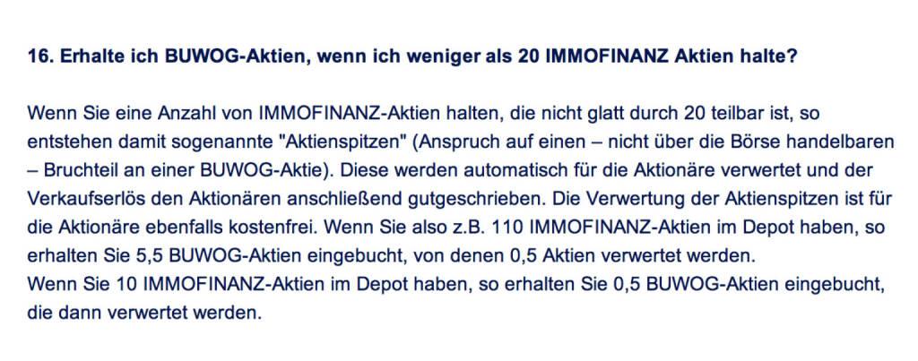 Frage an Immofinanz/Buwog: Erhalte ich Buwog-Aktien, wenn ich weniger als 20 Immofinanz Aktien halte? (18.04.2014)