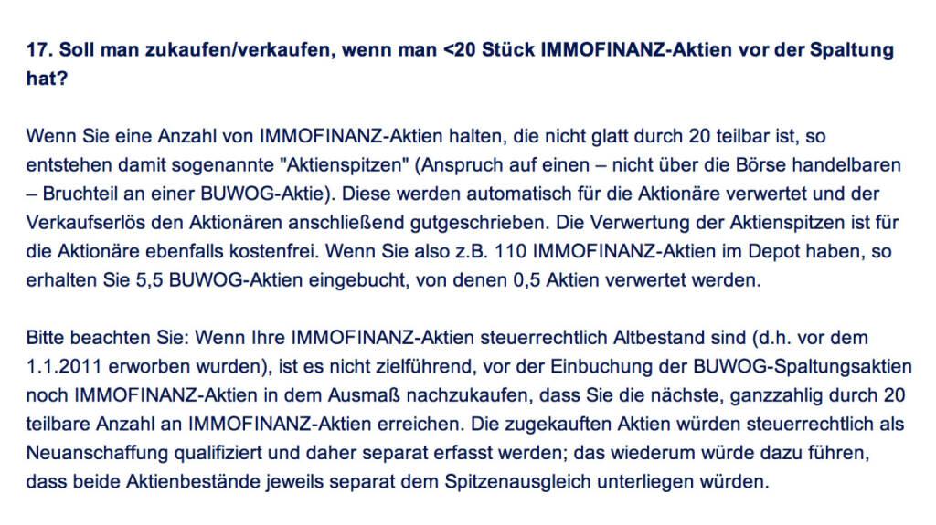 Frage an Immofinanz/Buwog: Soll man zukaufen/verkaufen, wenn man <20 Stück Immofinanz-Aktien vor der Spaltung hat? (18.04.2014)