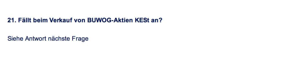 Frage an Immofinanz/Buwog: Fällt beim Verkauf von Buwog-Aktien KESt an? (18.04.2014)