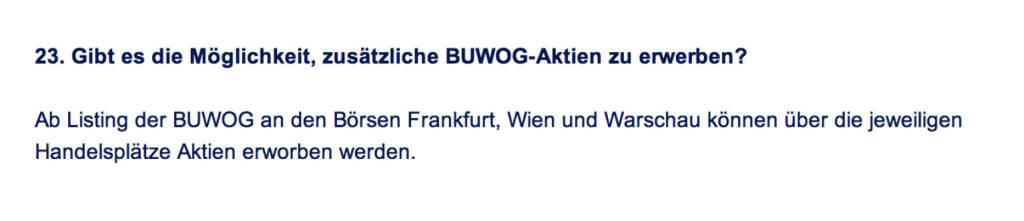 Frage an Immofinanz/Buwog: Gibt es die Möglichkeit, zusätzliche Buwog-Aktien zu erwerben? (18.04.2014)