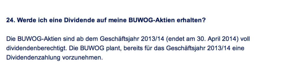Frage an Immofinanz/Buwog: Werde ich eine Dividende auf meine Buwog-Aktien erhalten? (18.04.2014)